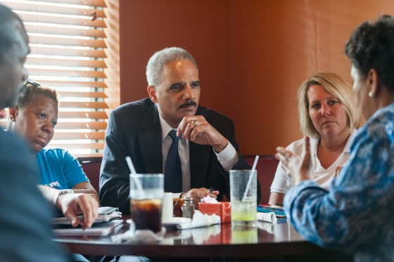 Attorney General Holder meets with local residents and community leaders of Ferguson at Drake's Place Restaurant