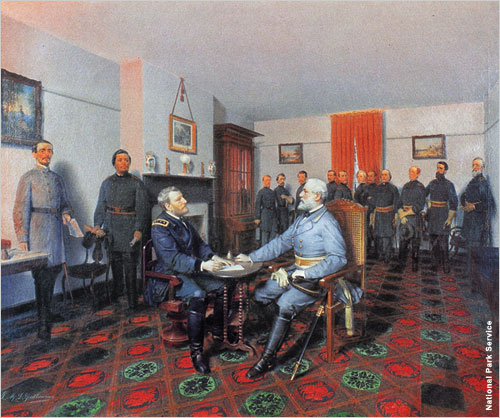 Confederate General Robert E. Lee surrenders to General Ulysses S. Grant at Appomattox Court House in Virginia, ending the Civil War.